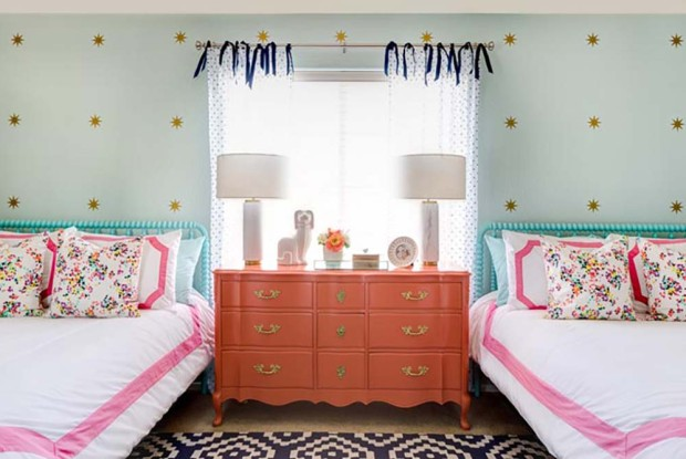 Coral and Aqua - Girls Room