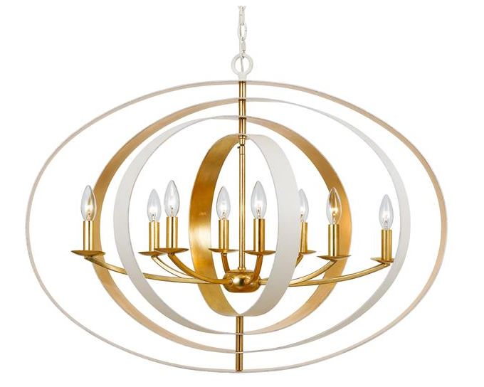 Crystorama Gold and White chandelier